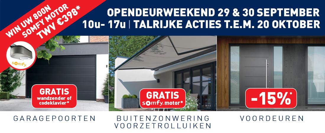 Opendeurweekend 29 & 30 september - Win uw 800N somfy motor