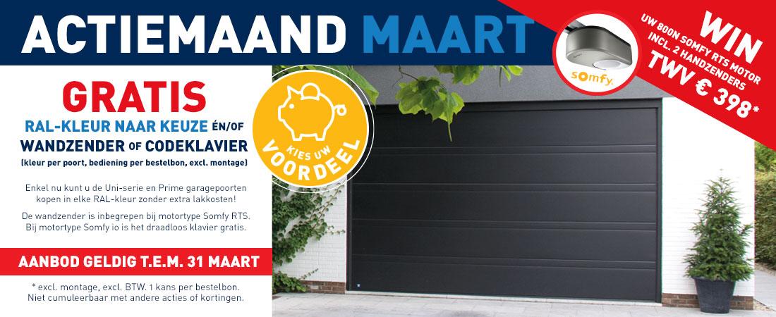 Garage poorten actie - Ral-kleur naar keuze en/of wanzender of codeklavier